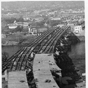 Head-on view of the partially-completed W-X Streets Bridge, Pioneer Bridge