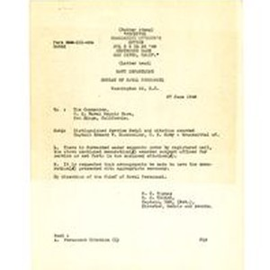 Letter from Navy Department, Bureau of Naval Personnel to U. S. Naval ...