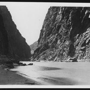 Boulder Canyon, down stream from the upper dam site during Boulder Dam ...