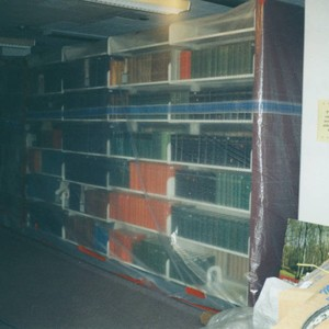 Books wrapped in plastic during Honnold/Mudd renovation