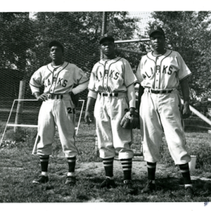 Oakland Larks players (left-right) Speck Roberts, Joe Plate, and John Litzie