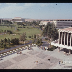 Birds-eye view of Gateway Plaza and campus park, ca. 1967