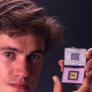 Professor Ron Garden and infrared chip.