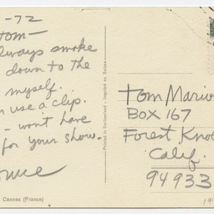 Letter to Tom Marioni from Bruce Conner (Bay Area Roach Clip Show)