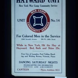 Hayward Unit, New York War Camp Community Service, Unit No. 14. For ...