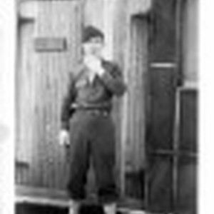 [Man Outside First Sergeant Building]