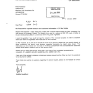[Letter from Victoria Sandiford to Peter Redshaw regarding request for cigarette analysis ...