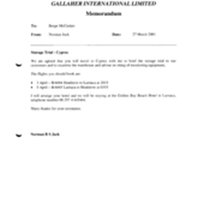 Gallaher International Limited[Memo from Norman Jack to Berge McCusker regarding storage trial]