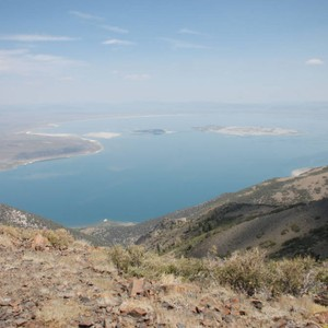 View of Mono Lake from the high point east of the junction ...
