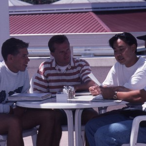 Student Cuong Nguyen with fraternity brothers, in View book.