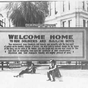 European War, 1914-1918 - Stockton: Welcome Home sign at the end of ...