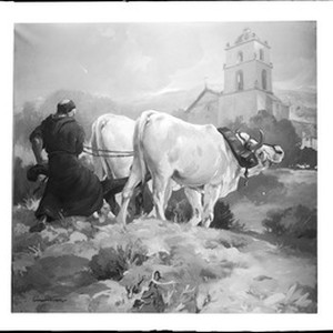 Painting by Einar Corsten Petersen, depicting a priest plowing the grounds of ...