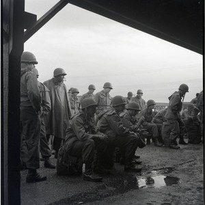 Soldiers waiting to depart for Korea