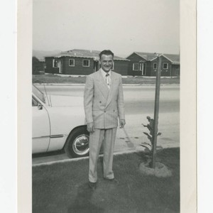 Man standing on Mines Ave., Los Nietos, California