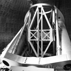 "200"" telescope showing tube structure, south yoke, tube girders and horseshoe"