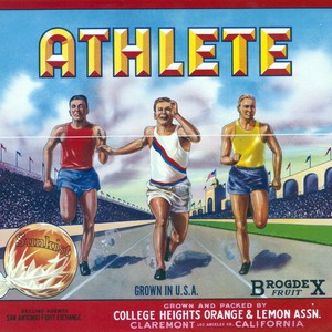 "Crate label, ""Athlete."" Grown and packed by College Heights Orange & Lemon ..."