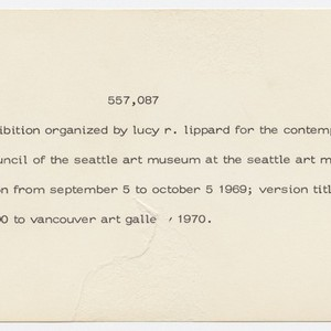 557,087. an exhibition organized by lucy r. lippard for the contemporary art ...