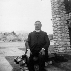 Father Benedict Florian Hahn of the St. Boniface Indian/Industrial School sitting on ...