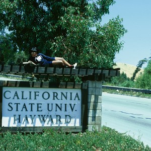 "Slide of sign on Hayward Hills campus: ""California State Univ. Hayward"" with ..."