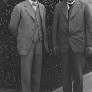 Einstein and Robert Millikan, standing