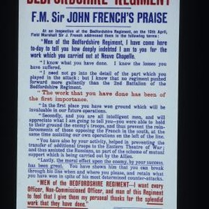 "The Bedfordshire Regiment. F.M. Sir John French's praise. ... ""Men of the ..."