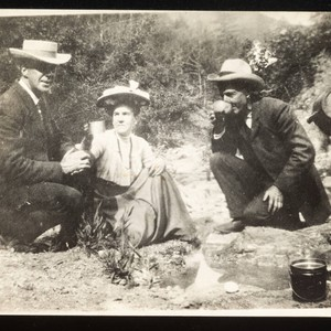 Luther Burbank, Emma Burbank, and Emma's husband drinking spring water