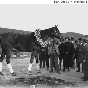 Racehorse Exterminator wearing a flower collar with Mrs. Ulysses S. Grant, Jr., ...