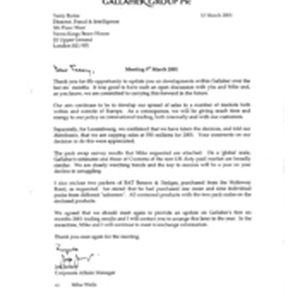 [Letter from Jeff Jeffery to Terry Baryne regarding Meeting on 20010309]