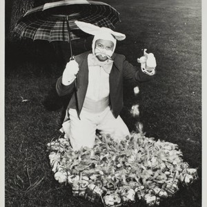 Exchange Club Easter Bunny at the Sonoma County Fair with his eggs, ...