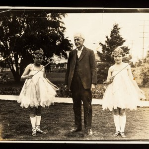 Luther Burbank with two young girls at time of Golden Jubilee Celebration, ...