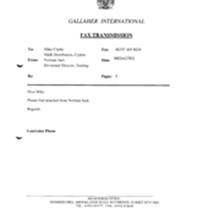 [Fax transmission from Norman Jack to Mike Clarke regarding the attachments from ...