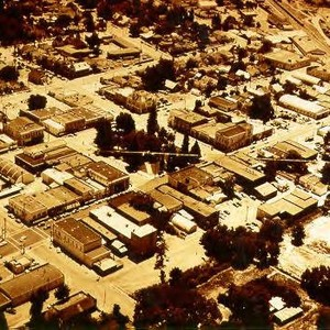 Aerial view of Healdsburg--Plaza at center of photograph