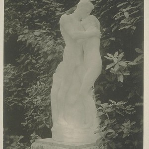 "H201. [""L'Amour"" (Evelyn Beatrice Longman, sculptor), exhibit garden, Palace of Fine Arts.]"
