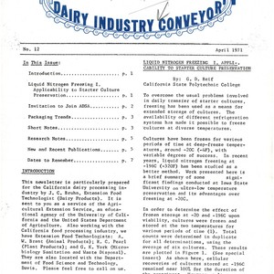 Dairy Industry Conveyor--Introduction; Liquid Nitrogen Freezing I. Applicability to Starter Culture Preservation; ...