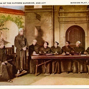 "Mission Play Collectors Postcards. Card 19: ""Convocation of the Fathers Superior, 2nd ..."