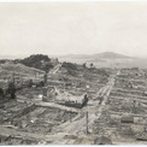 [Aerial view of earthquake damage on Mason Street]