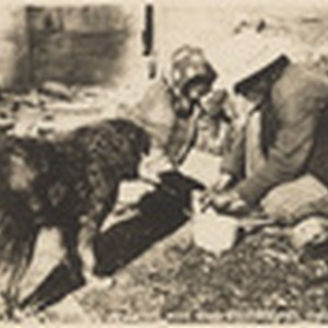 Indians at lunch with dog, Fort Bidwell, Calif. # B4701