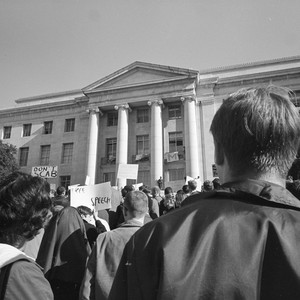 Rally in Sproul Plaza with Sproul Hall in background