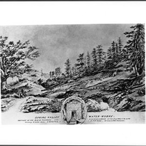 Drawing by Vischer of the Spring Valley Waterworks, San Mateo County, California, ...