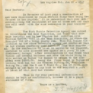 Letter from G. G. Hazzard to Walter Lindley