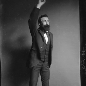 """Albert Putzker, German Dept., U.C., 1900,"" (appears to be a student impersonating ..."
