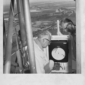 Agricultural Engineering, Coby Lorenzen (left) and H. Schultz on television tower in ...