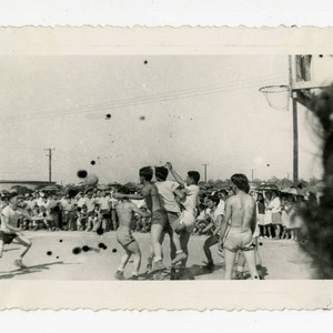 Basketball game in Jerome camp