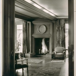 Chick house, Oakland: [interior, fireplace in living room]