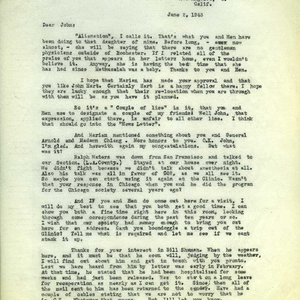 Letter from Arthur E. Guedel to Dr. John S. Lundy