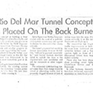 Rio del Mar Tunnel Concept Is Placed On The Back Burner