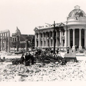 [Hibernia Bank, surrounded by ruins of other buildings destroyed in the earthquake ...