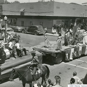 Stagecoach Days parade with floats on San Gorgonio Avenue in Banning, California