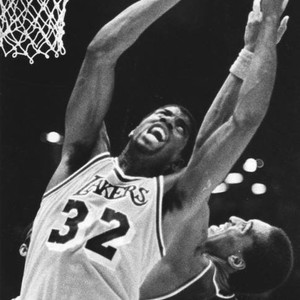 Magic Johnson goes to score during Western Conference Semifinals
