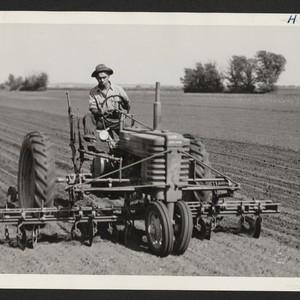 Roy Himoto, a farmer from Walnut Grove, California, is here shown operating ...